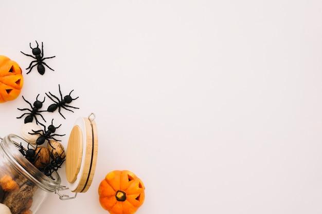 Concepto de halloween con hormigas y espacio a la derecha