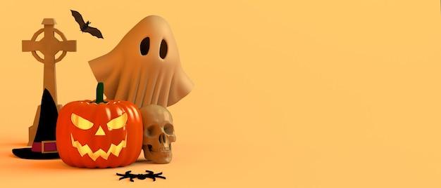 Concepto de halloween con sombrero de bruja de calavera de calabaza fantasma grave y araña ilustración 3d espacio de copia