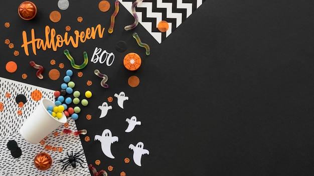 Concepto de halloween de vista superior con espacio de copia