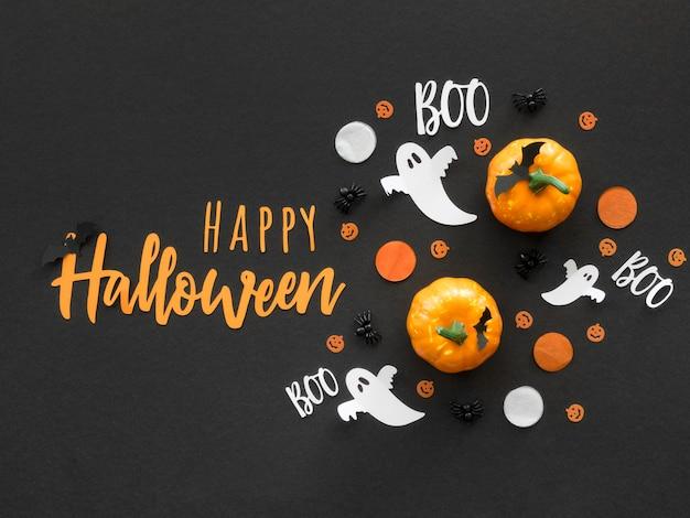 Concepto de halloween de vista superior con saludo