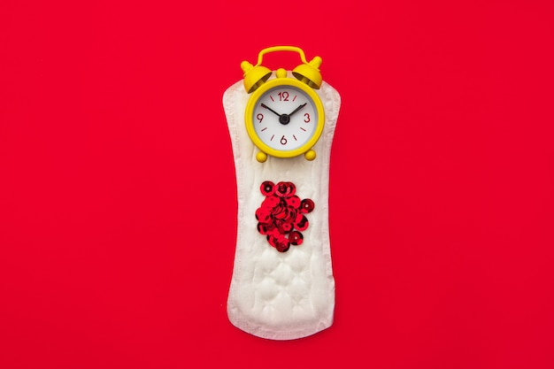 Concepto de higiene de la mujer de la menstruación.