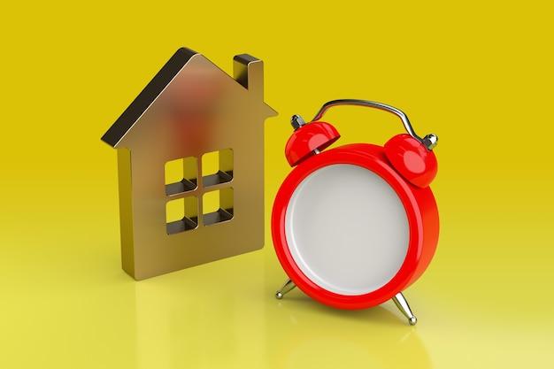 Concepto de hipoteca, recordatorio, logro y fecha límite. representación 3d