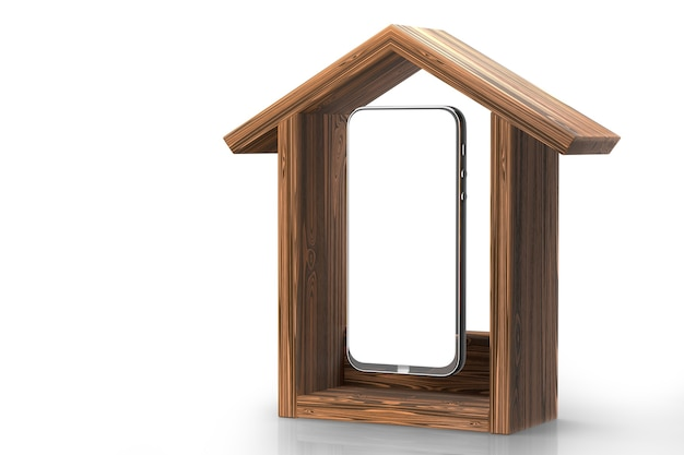 Concepto de hogar inteligente. control de casa inteligente desde un teléfono inteligente. render 3d.
