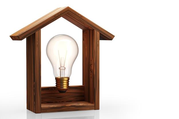 Concepto de hogar inteligente. control de iluminación en la casa. bombilla de luz en la casa. render 3d.