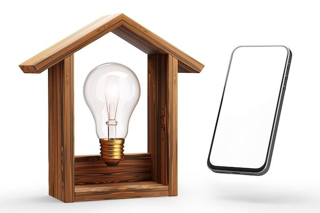 Concepto de hogar inteligente. control de iluminación del hogar desde un teléfono inteligente. maqueta de teléfono inteligente. render 3d.
