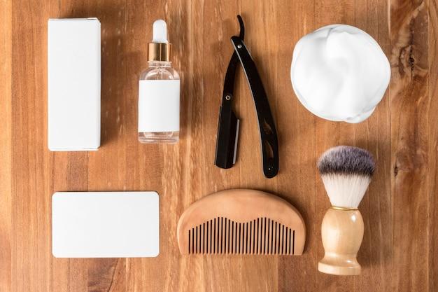 Concepto horizontal de herramientas de peluquería endecha plana