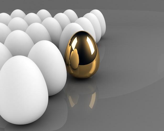 Concepto de huevo de oro entre la multitud sobre gris