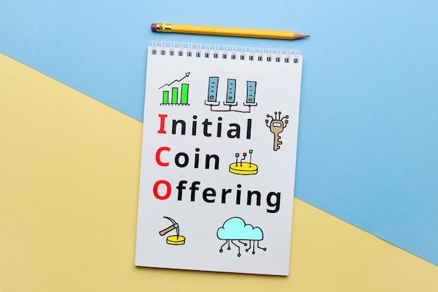 Concepto ico u oferta inicial de monedas con iconos abstractos.