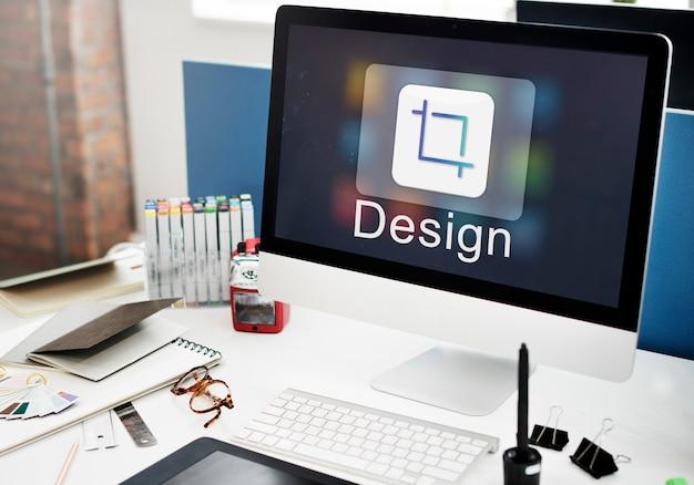 Concepto de icono de cambio de tamaño de software de diseño