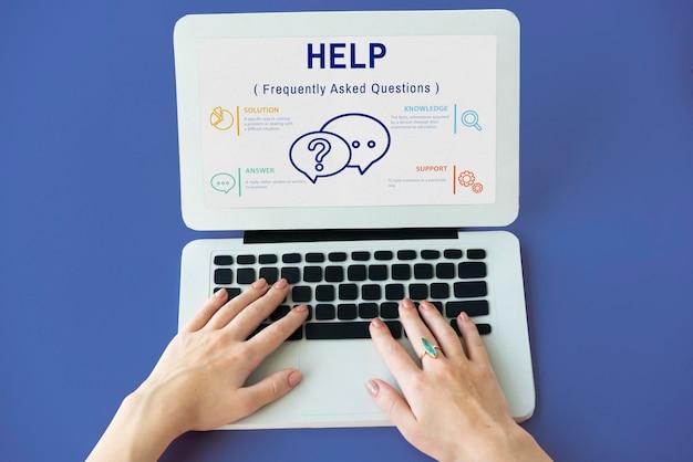 Concepto de icono de servicio al cliente de preguntas frecuentes