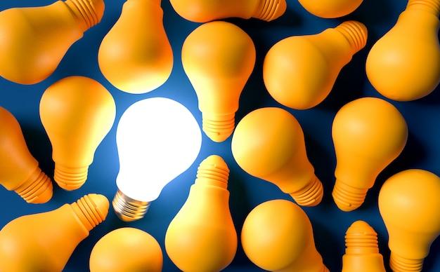 Concepto de idea de bombillas. ilustración de render 3d