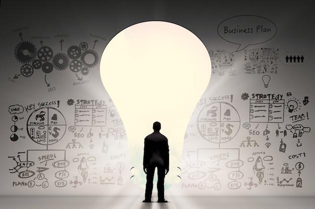 Concepto de idea de negocio con empresario y plan de negocios
