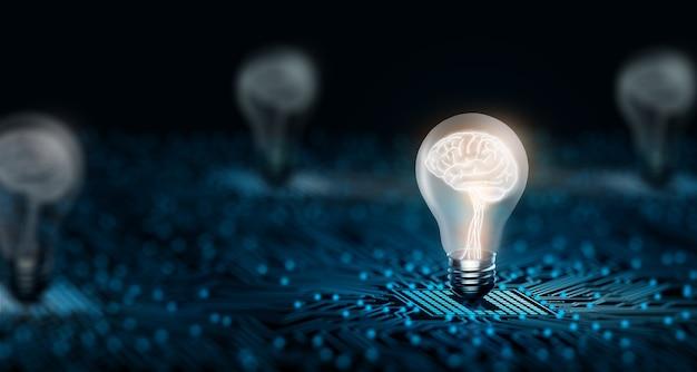 Concepto de idea de negocio y tecnología de inspiración creativa e innovación