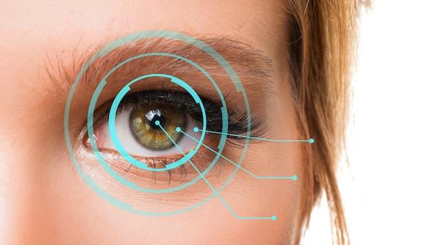 Concepto de identificación del ojo. ojo femenino cerca de la foto.