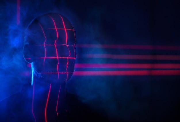 Concepto identificar iluminar exploración facial láser rojo biométrico exploración de reconocimiento facial futurista