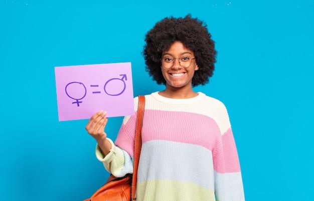 Concepto de igualdad joven mujer bastante afro