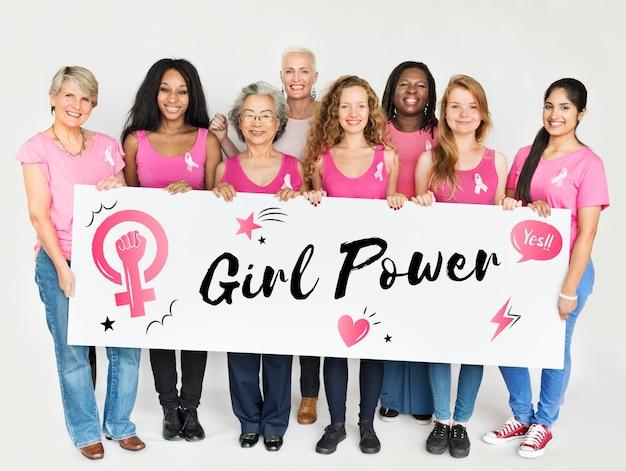 Concepto de igualdad de oportunidades de mujeres girl power feminismo
