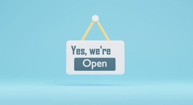 Concepto de ilustración 3d de signo abierto, render 3d de apertura de tienda