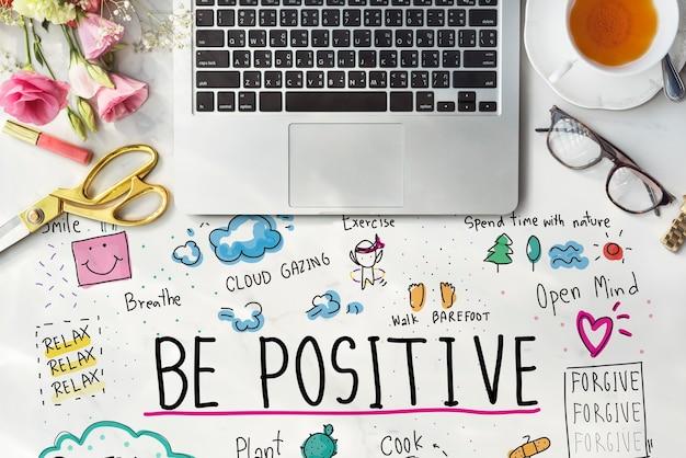 Concepto de ilustraciones de dibujos animados de mensaje de positividad