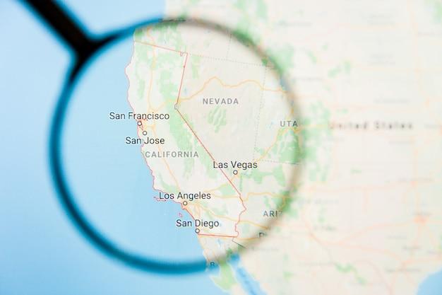 Concepto ilustrativo de visualización del estado de américa de california, california, en la pantalla a través de una lupa