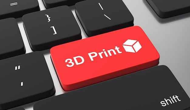 Concepto de impresión 3d. botón de teclado de impresión 3d
