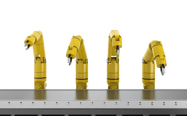 Concepto de industria de automatización con línea de montaje de robot de renderizado 3d en fábrica