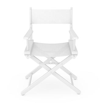 Concepto de industria cinematográfica. silla de director de madera blanca en estilo arcilla sobre un fondo blanco representación 3d