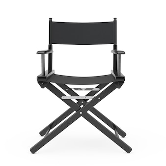 Concepto de industria cinematográfica. silla de director de madera negra sobre un fondo blanco representación 3d