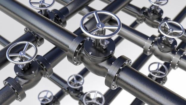 Concepto industrial abstracto creativo de plomería o tubería de gas: serie de tuberías de acero con válvulas negras y efecto de enfoque selectivo, foco en la válvula, profundidad de campo baja, ilustración industrial 3d