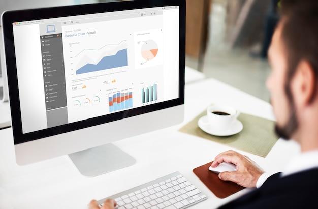 Concepto de informe de gráficos visuales de gráfico empresarial