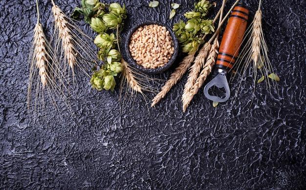 Concepto del ingrediente de la cerveza.