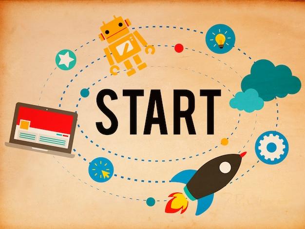 Concepto de inicio de estrategia de éxito de misión de inicio