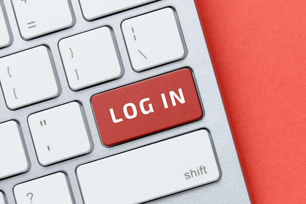 Concepto de inicio de sesión en el botón del teclado