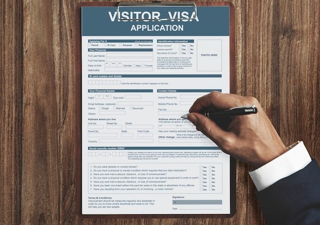 Concepto de inmigración de solicitud de visa de visitante