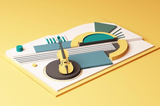 Concepto de instrumento musical y violín, composición abstracta de plataformas de formas geométricas en tono amarillo y verde. representación 3d