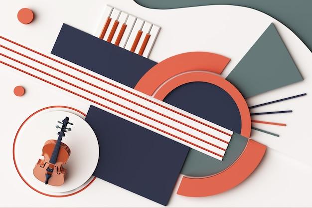 Concepto de instrumento musical y violín, composición abstracta de plataformas de formas geométricas en tono naranja y azul. representación 3d