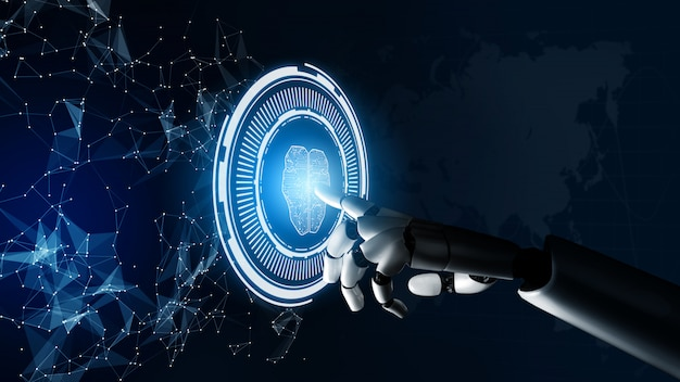Concepto de inteligencia artificial robot futurista.