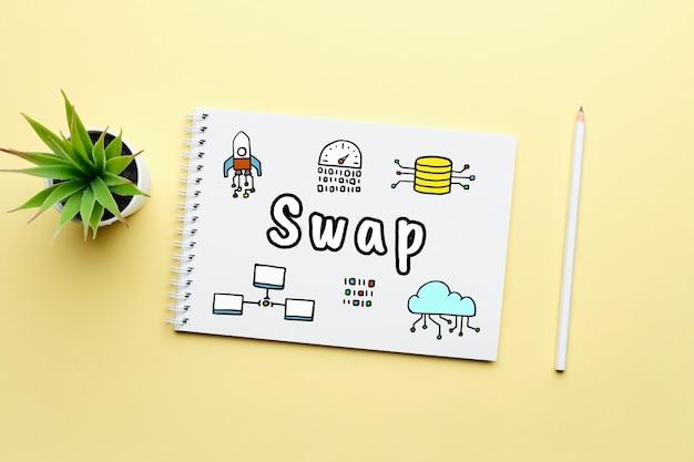 Concepto intercambio descentralizado o swap con iconos abstractos.