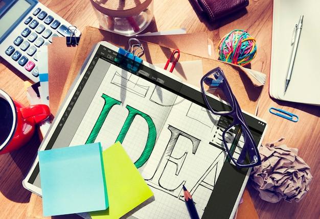 Concepto de interfaz de aplicación del programa de edición de ideas