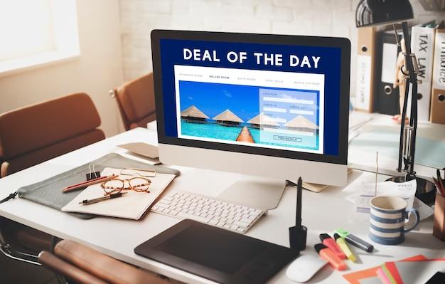 Concepto de interfaz de sitio web de reserva de vacaciones