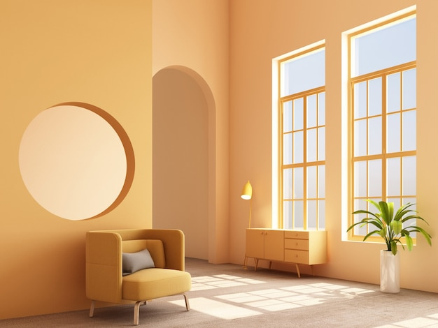 Concepto interior de memphis diseño colorido sillón con consola y render 3d render