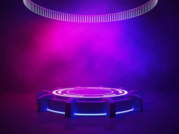 Concepto interior ultravioleta, escenario vacío con humo y luz púrpura.