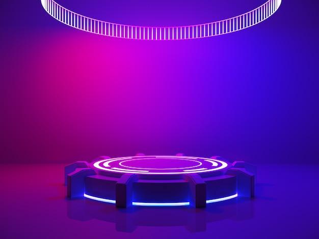 Concepto de interior ultravioleta, escenario vacío y luz púrpura.