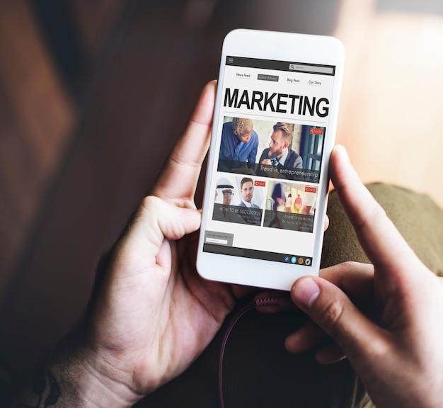 Concepto de internet de medios sociales comerciales de marketing digital