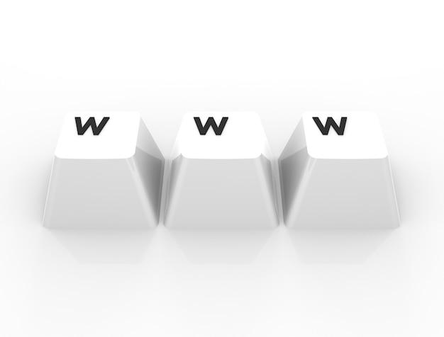 Concepto de internet www. imagen generada digitalmente aislada sobre fondo blanco. representación 3d