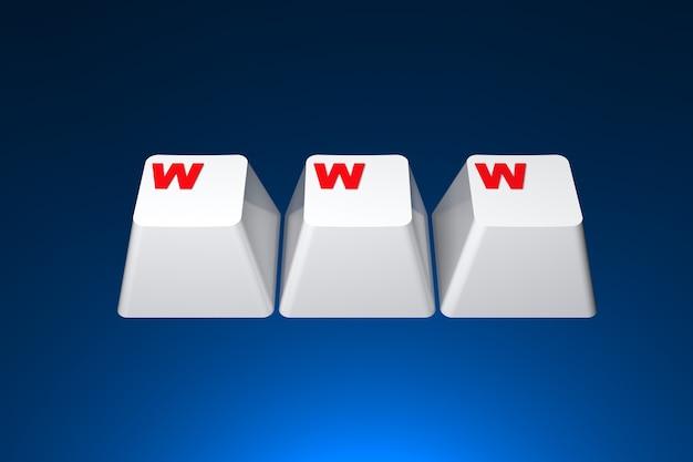 Concepto de internet www. imagen generada digitalmente sobre fondo azul oscuro. representación 3d