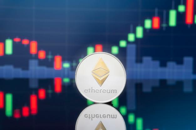 Concepto de inversión ethereum y criptomoneda.