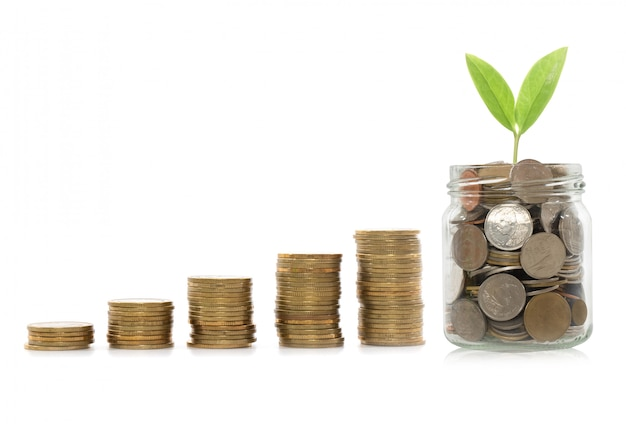 Concepto de la inversión, mercado de acción del gráfico de las monedas. concepto del dinero del ahorro.