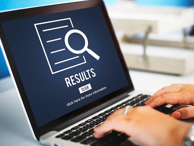 Concepto de investigación de descubrimiento de análisis de resultados