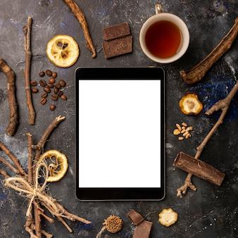 Concepto de invierno de maqueta de tableta